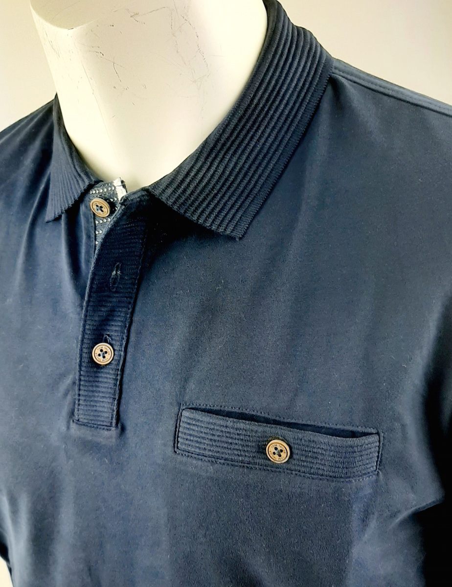 Tom Tailor  soft polo with smart details met lange mouw